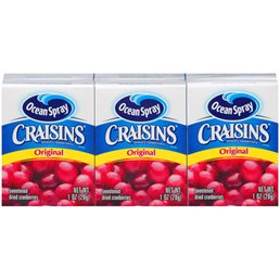 小さい箱のCraisinsやレーズンは、スナックにも料理にも何かと便利 (From mybrands.com)